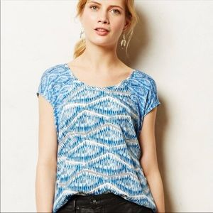 ANTHROPOLOGIE Meuse Blue High Low Blouse